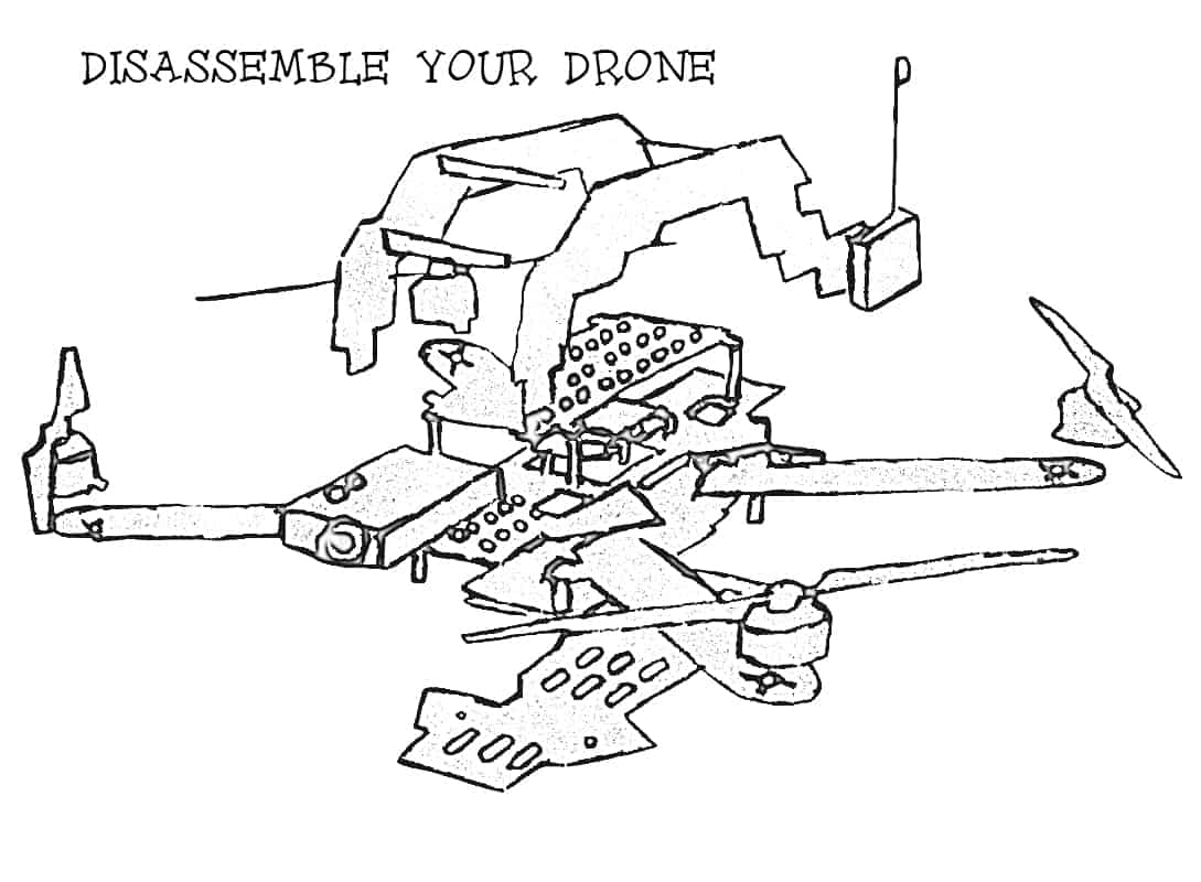 Waterproof quadcopter: Disassembled drone